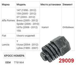 NAck 29009 ОТБОЙНИК   Регулируемый Капота, ALF* / LN* / FT*   Резин, (чёрная)