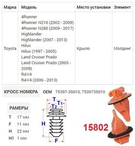NAck 15802 Клипса   Обшив./молдин, 2 и более шляпок