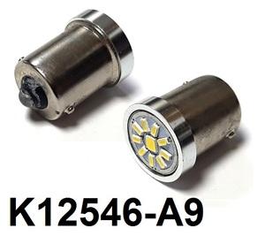 КИТАЙ K12546-A9 Диод световой 12v   P21W (BA15s) P21W  Бел. 1-уров/симм. 10-led  1-кнт. яркая