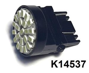 КИТАЙ K14537 Диод световой 12v   W21/5W (W3x16q) Бел. 22-led (плоск)  2-кон. б/цок.