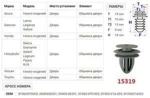 ОРИГИНАЛ 15319 / A175049 Клипса   Обшив./молдин, 2 и более шляпок