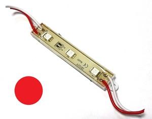 КИТАЙ K19642 Диод световой 12v   Полоса Красн. пласт.  3-led  L-75mm (корпус бел.)