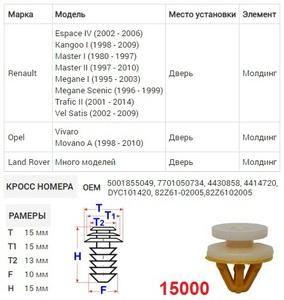 NAck 15000 Клипса   Обшив./молдин, 2 и более шляпок
