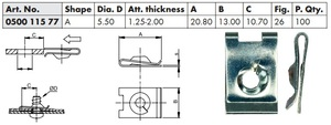 WURTH 0050011577 Закладные   Под саморез крепёжная  21дл.*19шр.  D6,3mm