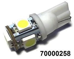 КИТАЙ 70000258 Диод световой 12v   W3W (W2,1x9,5d) Бел.  5-led  Габ. б/цок.