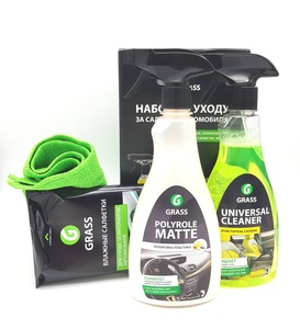 GRASS 800421 Комплект для ухода за салоном (4 предмета)  Universal Cleaner-500ml Polyrole Matte-500ml салфетка из микрофибры и влажные салфетки