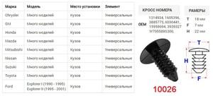 КИТАЙ K30322 Клипса   Обшив./молдин, 1-а шляпка