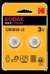 KODAK CR1616-KD Батарейка   Литиевая LITHIUM CR1616   3V (в блист. 2шт.)