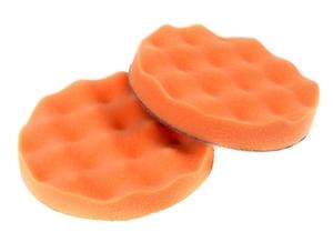 Chamaleon 49410 Абразивы   Губка Полировальная на липучку D=150mm  Волнист. оранж. жёстк. 150*25мм