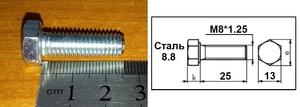 WURTH 0057825 Болт   Нар. 6-гр. M 8*1.25mm  L=25mm   8.8 класс проч.