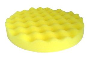 PROGRESS 2473 Абразивы   Губка Полировальная на липучку D=150mm  Волнист. жёлтая. п/мягк. 150*25мм