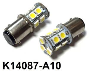КИТАЙ K14087-A10 Диод световой 12v   P21/5W (BAY15d) Бел. 13-led  2-уров/симм.  2-кнт.