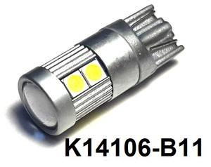 КИТАЙ K14106-B11 Диод световой 12v   W3W (W2,1x9,5d) Бел.  9-led б/поляр.  Габ. б/цок.