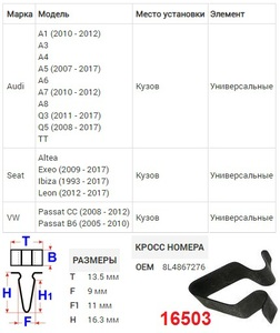 NAck 16503 ФИКСАТОРЫ   V-образные  VW*P6 / CC / A* / ST* много моделей  Кузов, универсальная