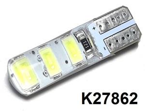 КИТАЙ K27862 Диод световой 12v   W3W (W2,1x9,5d) Бел.  6-led в силиконе.  Габ. б/цок.
