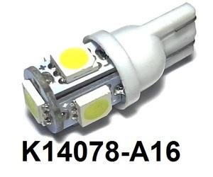 КИТАЙ K14078-A16 Диод световой 12v   W3W (W2,1x9,5d) Бел.  5-led   Габ. б/цок. (1-led сверху / 4-по бокам)