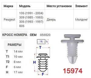 ОРИГИНАЛ 12408 Клипса   Обшив./молдин, 2 и более шляпок
