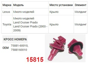 NAck 15815 Клипса   Обшив./молдин, 2 и более шляпок