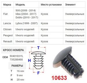 ОРИГИНАЛ 50381Z Клипса   Обшив./молдин, 1-а шляпка