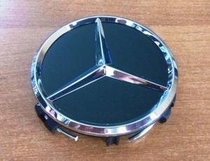 КИТАЙ K31672 Колпачок   На диск MERCEDES (черн.фон. / хром. знак)  D=75mm