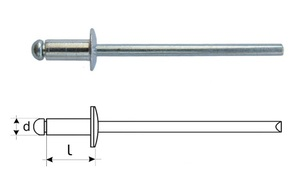 LIDER K34896 Заклёпки   Алюминевые Универсальные  d 2,4mm; D4,9mm ; L10,0mm