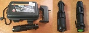 POLICE BL-1812-T6 Фонарик РУЧН. 10000W чёрн.мет.  L-92.5mm-98.5mm (зелен.кнопка)