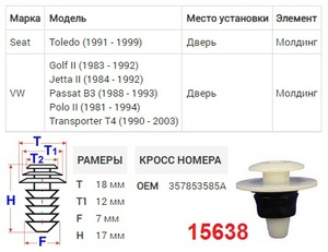 NAck 15638 Клипса   Обшив./молдин, 2 и более шляпок