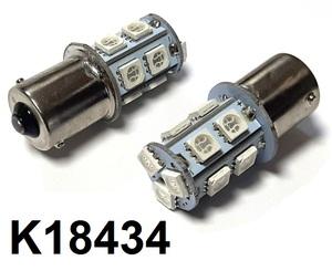 КИТАЙ K18434 Диод световой 12v   P21W (BA15s) P21W  Красн. 1-уров/симм. 13-led  1-кнт.