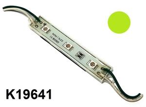 КИТАЙ K19641 Диод световой 12v   Полоса Зел. пласт.  3-led  L-75mm (корпус бел.)
