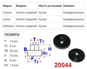 NAck 20044 ГАЙКА   С фланцем, (прессшайба) TO* / LX* много моделей, кузов, универсальные  Пластик, (чёрный)