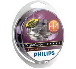 PHILIPS 12258NG -SET!!! ЛАМПА К-Т H1  55W  NIGHTGUIDE 3 IN 1 к-кт=2 шт.