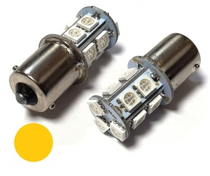 КИТАЙ K14099-A15 Диод световой 12v   PY21W (BA15s) Оранж.  13-led  1-уров/симм.  1-кнт.