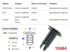 NAck 10464 Клипса   Обшив./молдин, 1-а шляпка