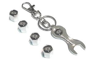 КИТАЙ K15831 Брелок   Ключ KIA чёрный (ключ + колпачки)  Ключ рожковый, в блистере.