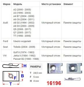 ОРИГИНАЛ 16309 Закладные   Под саморез крепёжная  25дл.*16шр.  D6,3mm