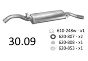 EDEX 30.09 Глушитель   Задн. часть VW*G2 85-92 1.1/1.3