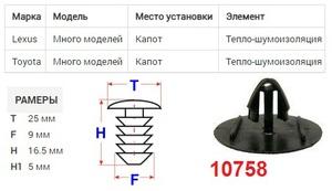 NAck 10758 Клипса   Обшив./молдин, 1-а шляпка