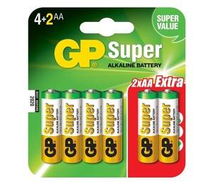 GP 15A4/2 UE6 Батарейка   Стандартные ALKALINE 15A UE6   1.5V 2500 мАч (в блист. 6шт.)