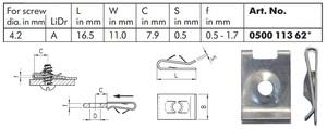 WURTH 0050011362 Закладные   Под саморез крепёжная  16дл.*11шр.  D4,2mm
