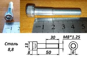 WURTH 0084850 Болт   Внутр. 6-гр. M 8*1.25mm  L=50mm   8.8 класс проч.