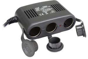HEYNER 511.300 Разветвитель в прикуриватель 3-ВЫХ+USB+кабель  12V