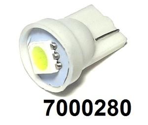 КИТАЙ 70000280 Диод световой 12v   W3W (W2,1x9,5d) Бел.  1-led  Габ. б/цок.