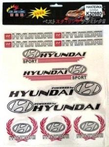 КИТАЙ K20980 НАКЛЕЙКА   Ассорти ПЛАКАТ HYUNDAI 30,0х24,0cm разные  эмблемы надписи значки