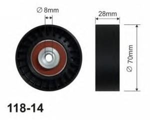 CX 118-14 Ролик   Руч.рем. A*VW* 1,9D/1,7sdi натяж.  Глад.