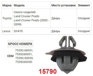 NAck 15790 Клипса   Обшив./молдин, 2 и более шляпок