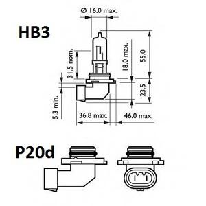 KAIER K33668 ЛАМПА 12V HB3  60/65W P20d +50%  12V