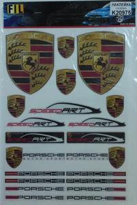 КИТАЙ K20975 НАКЛЕЙКА   Ассорти ПЛАКАТ PORSCHE 37,0х25,0cm (разные)  эмблемы напдписи значки