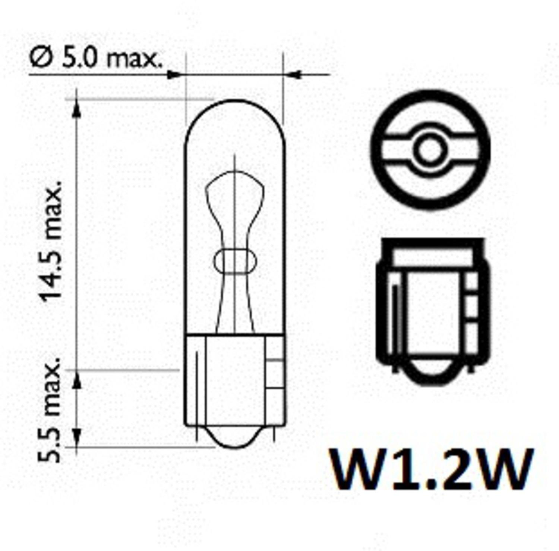 ДЕШ non code ЛАМПА 12V W 1,2W   W2x4,6d  Б/ЦОК  12V  ПРИБ. Д.