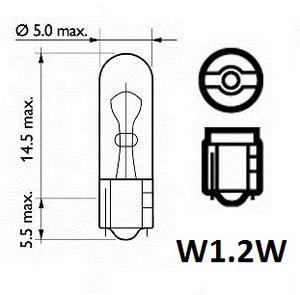 TRIFA TR01702 ЛАМПА 12V W 1,2W   W2x4,6d  Б/ЦОК  12V  ПРИБ. Д.