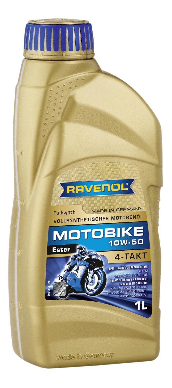 RAVENOL non code Масло мото   4-Takt 10W50 MOTOBIKE  ESTER  1L  ДЛЯ СПОРТ БАЙКОВ На основе эфиров для 4-х тактных мотоциклетных двигателей.Yamaha, Kawasaki, Honda, Aprilia, BMW, Suzuki, Ducati, Triumph, Moto-Guzzi.